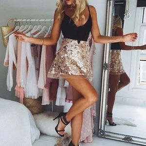 Rose gold sequin skirt WORN ONCE